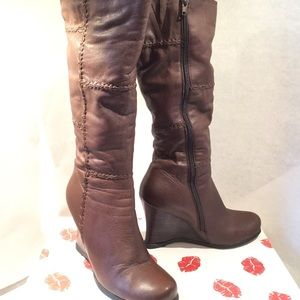 Hot Kiss patchwork brown leather wedge boots
